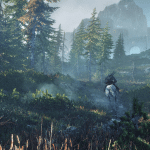 8_Riding_horseback-Geralt_can_admire_the_beautiful_vistas_of_the_morning_sun_shining_down_on_the_island_of_Ard_Skellig.