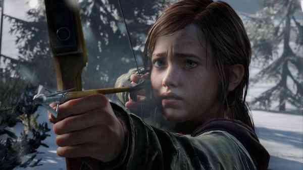 The Last Of Us Ellie holding a bow with an arrow ready