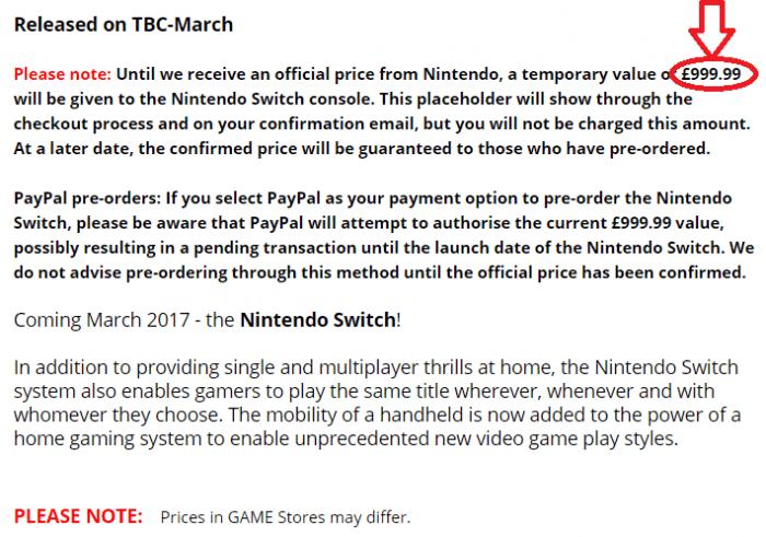 Nintendo Switch pre-order price