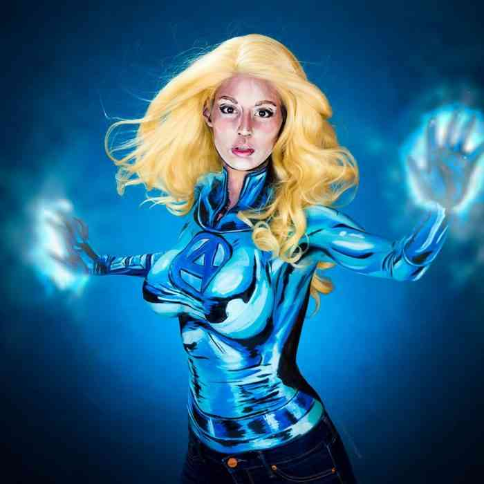 Titillating Body Paint Brings Comic Book and Video Game