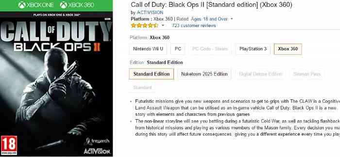 Xbox One Call Of Duty Black Ops 2 Amazon Inadvertently L...