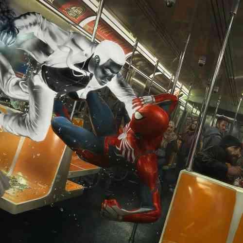 subway battle spider-man