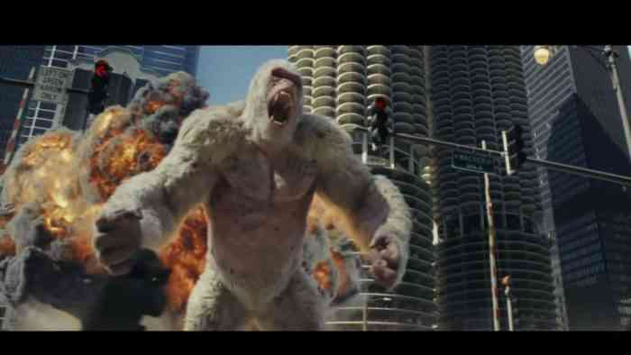 Rampage trailer: Dwayne Johnson fights huge  beasts in '80s arcade game adaptation