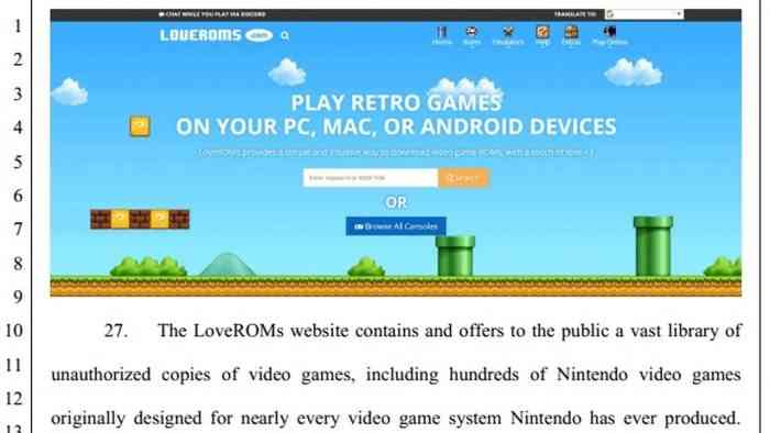 rom sites loveroms loveretro lawsuit