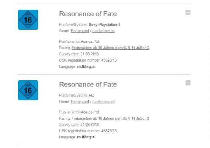 Resonance of Fate Remaster Rating