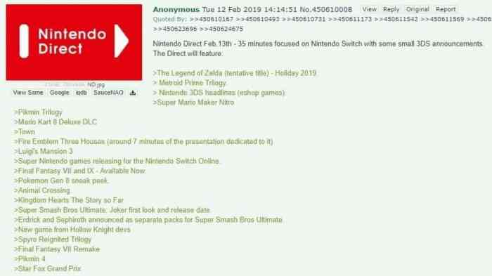 Nintendo Direct Leak