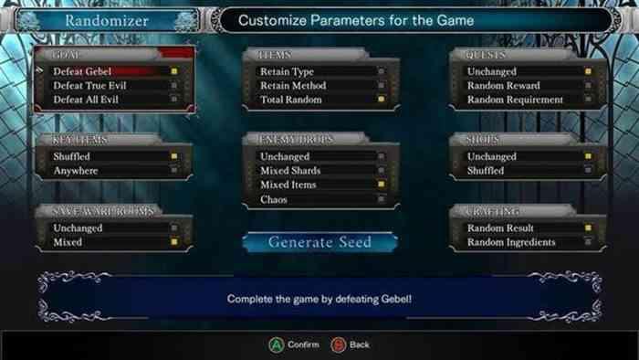 Bloodstained Randomizer Mode