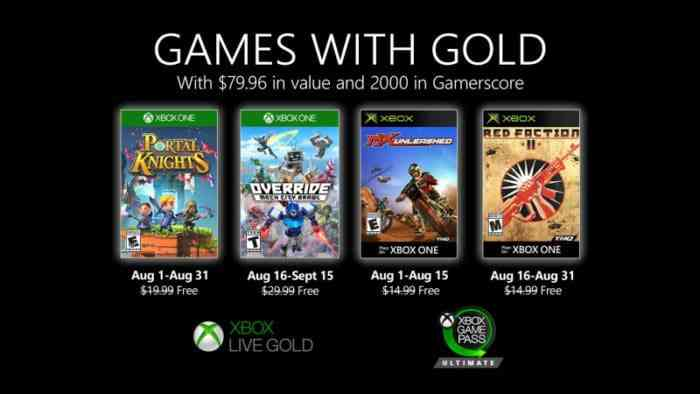 Xbox Reveals August Games With Gold