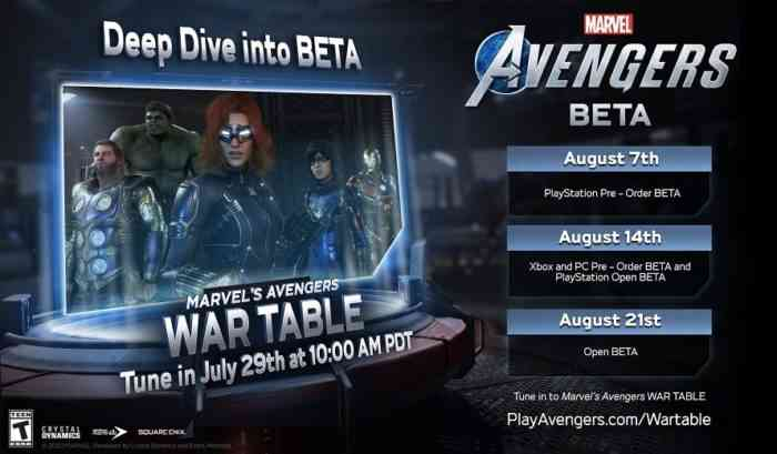 Marvel's Avengers Beta Dates