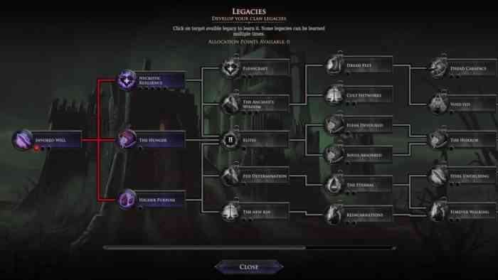 Immortal Realms Vampire Wars menu