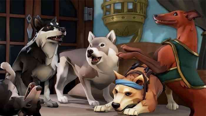 Sea of Thieves - Alsatian, Whippet, and Inu Dogs are sitting, standing, and playing with each other on a table