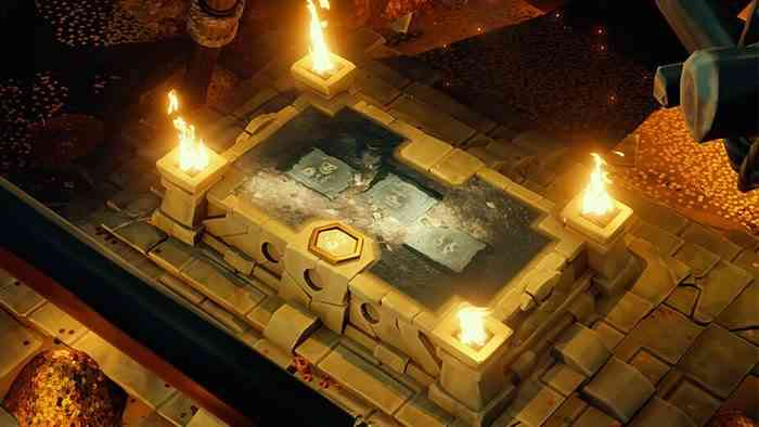 Sea of Thieves: Vaults of the Ancients - Large stone alter with a flame on each corner that displays the solution to a puzzle in the centre