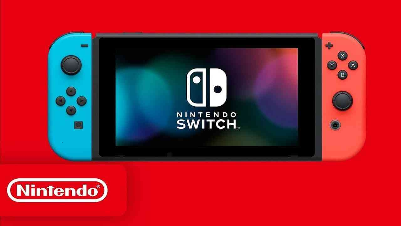 Nintendo Switch on red background