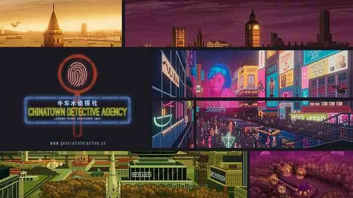 A promo image featuring the locations of General Interactive's adventure-mystery game Chinatown Detective Agency
