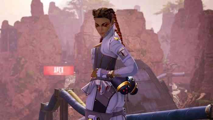 apex legends loba looking at the screen.