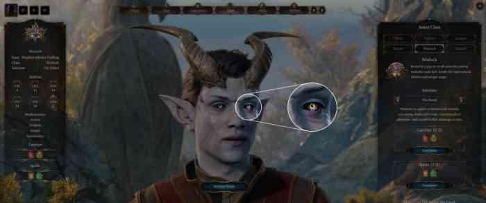 A tiefling character being created in Baldur's Gate 3