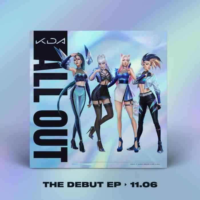 A mock-up album cover of Riot Games' virtual pop band K/DA's All Out EP