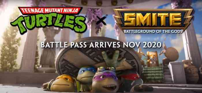 A promo image for the Teenage Mutant Ninja Turtles arriving in Smite.