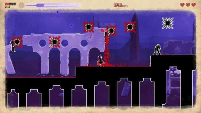 A screenshot from They Bleed Pixels. The player character stands on a thin black walkway, surrounded by bloodstains left from dead enemies.