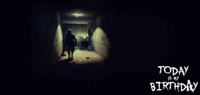 A screenshot from horror game Today is My Birthday. A figure is shown walking down a darkened hallway.