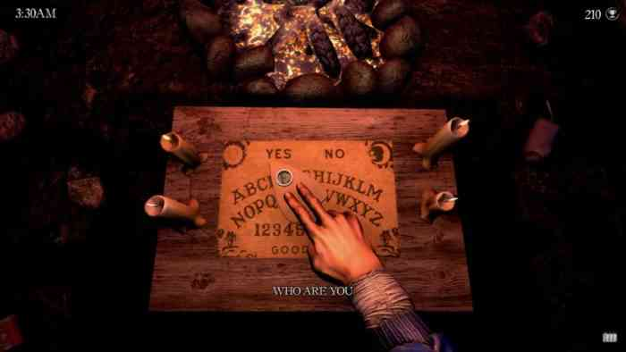 A screenshot from Apparition showing a hand moving over a Spirit Board.