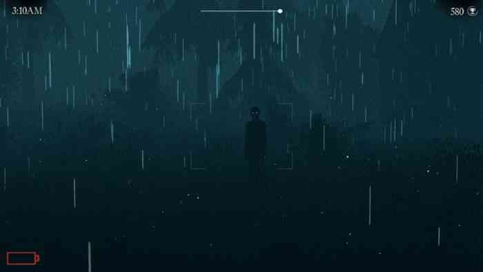 A screenshot from Apparition showing a shadowy figure standing in the distance. Rain obscures the details. The figure's eyes are glowing.