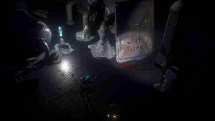 Cryospace screenshot. A player characters stands in a dark room. A crumpled metal door with 'don't open' scrawled in red has been torn off its hinges.