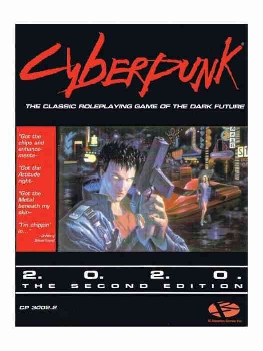 The cover of the Cyberpunk 2020 Tabletop RPG book