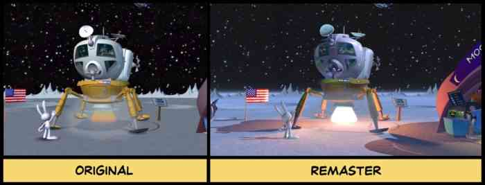 A comparison screenshot between Sam & Max Save the World and its remaster.