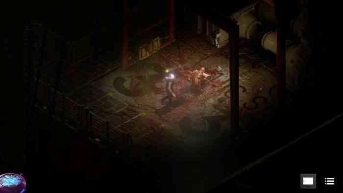 A cutscene from STASIS: BONE TOTEM. A player character encounters a bloody figure in a darkened room.