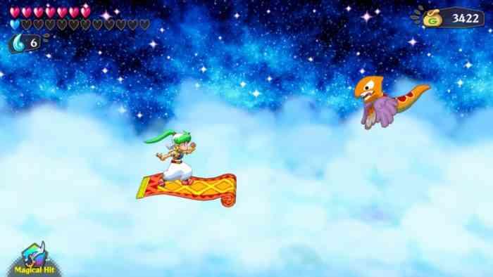 Wonder Boy Asha in Monster World magic carpet