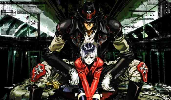 A wallpaper of Gungrave's Beyond the Grave and Mika Asagi sitting together.